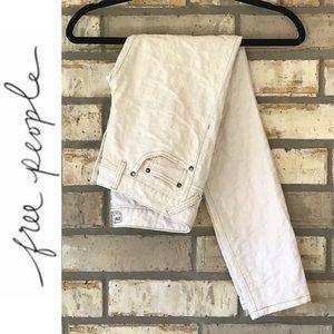 Free People Textured Cream Skinny Pants